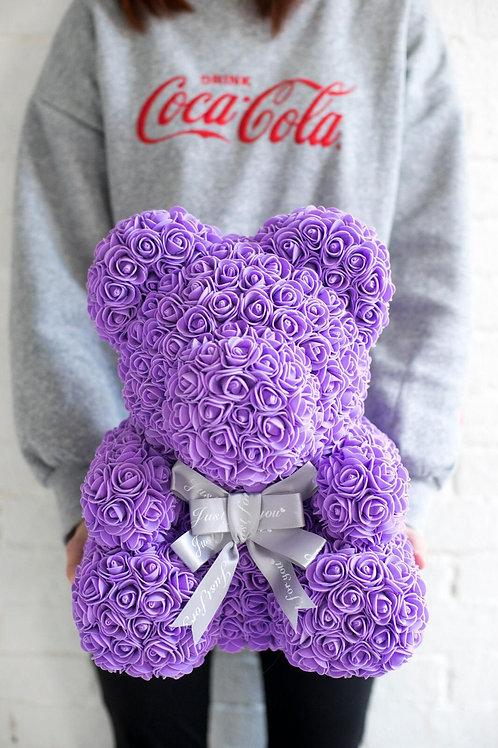 現貨 - [35cm高] 絲帶玫瑰熊仔 (紫色)