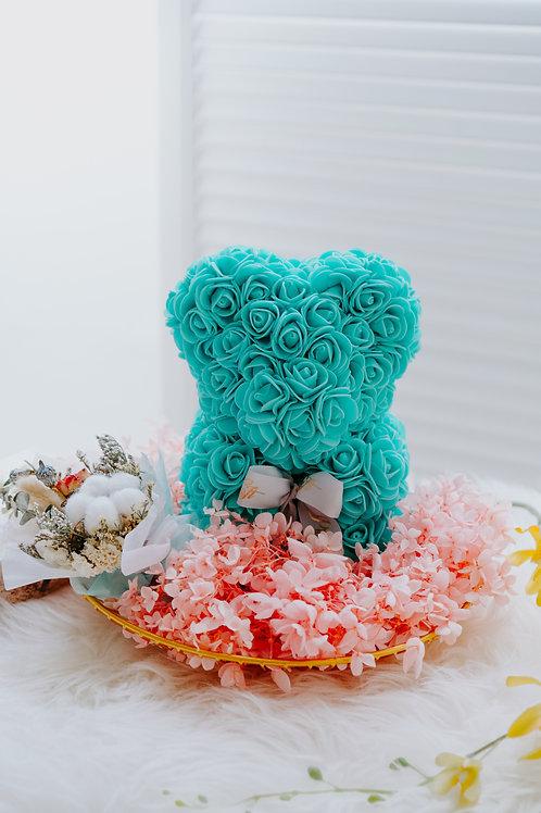 現貨 - [25cm高 - 蒂芬尼色] 玫瑰熊仔永生繡球花 (只限自取或司機送貨)