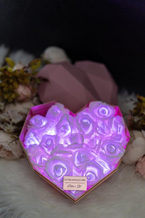 現貨 - 韓式心型閃亮玫瑰花盒(粉紅色盒,浪漫紫光)