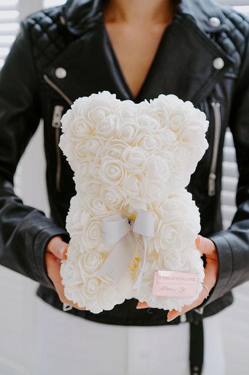 現貨 - [25cm高 - 白色] 絲帶玫瑰熊仔