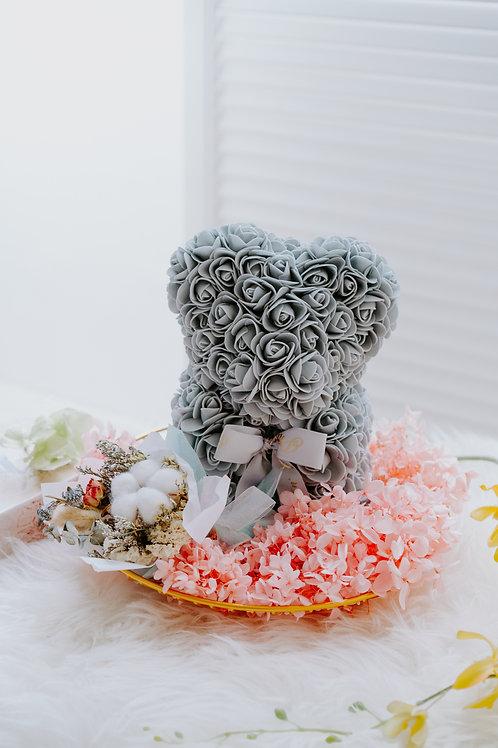 現貨 - [25cm高 - 灰色] 玫瑰熊仔永生繡球花 (只限自取或司機送貨)