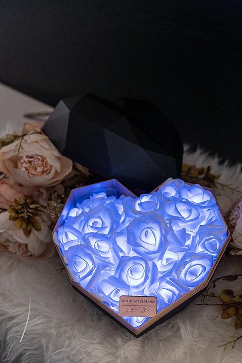 現貨 - 韓式心型閃亮玫瑰花盒(黑盒,秀麗藍光)