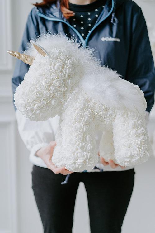 現貨 - [39cm高] 永久保存玫瑰花獨角馬 (白色)