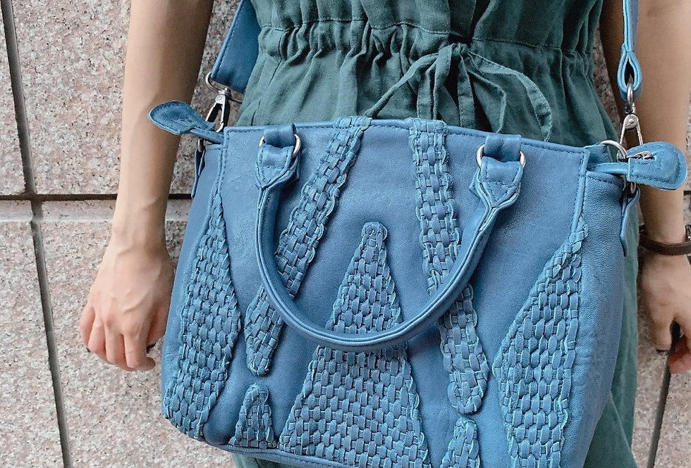 編織設計羊皮斜揹包