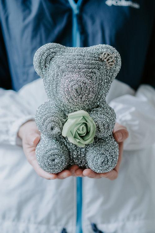 現貨 - [20cm高 - 灰色] 皇冠閃鑽帶熊仔