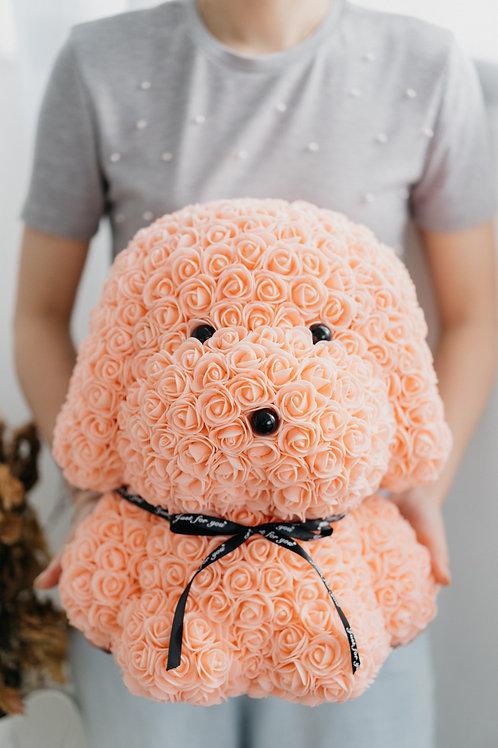 現貨 - [39cm高] 永久保存玫瑰花狗狗 (粉橙色)
