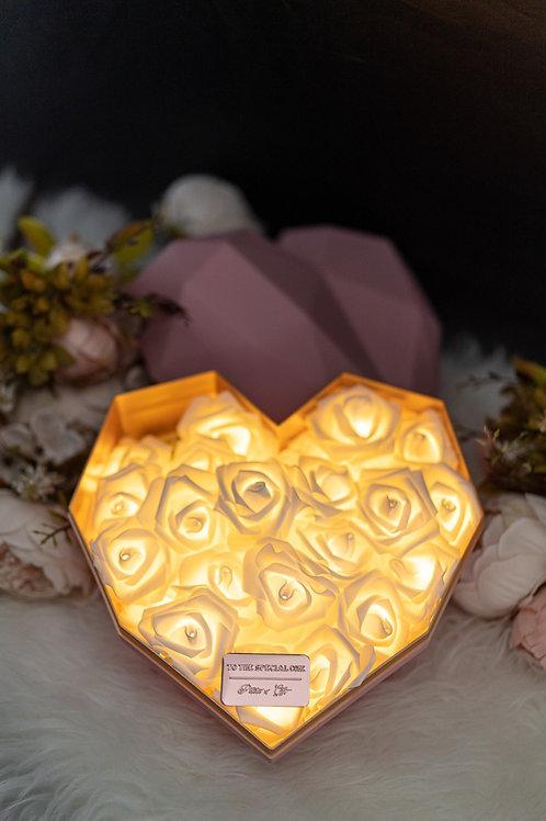 現貨 - 韓式心型閃亮玫瑰花盒(粉紅色盒,香檳金)