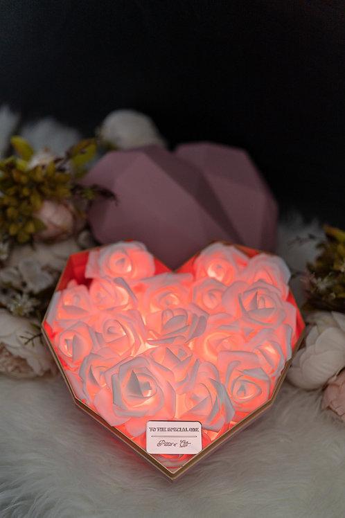 現貨 - 韓式心型閃亮玫瑰花盒(粉紅色盒,熱情紅光)