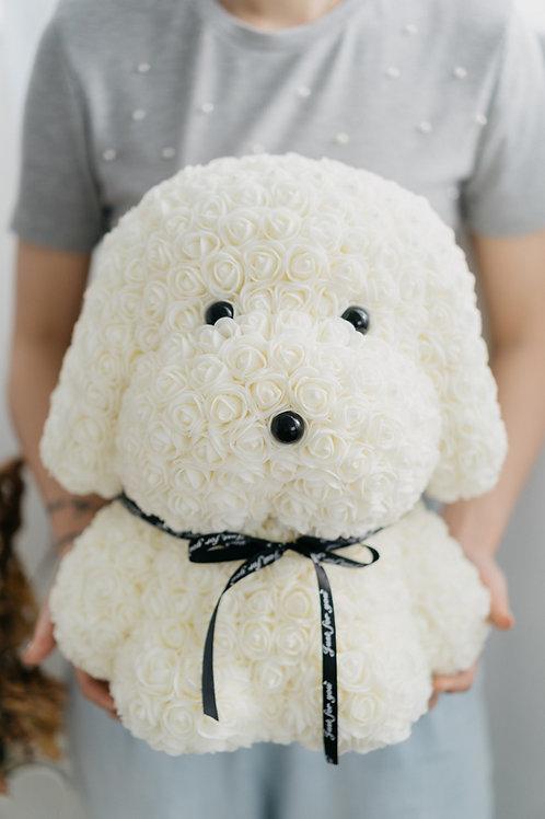 現貨 - [39cm高] 永久保存玫瑰花狗狗 (白色)