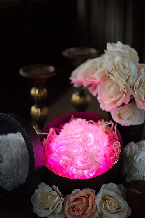 現貨 - 39朵韓式閃亮玫瑰圓形花盒 (甜美粉紅光)