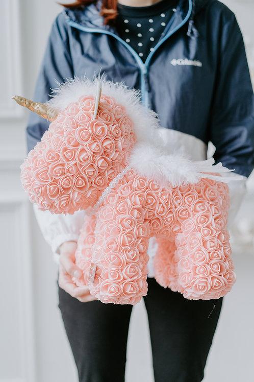 現貨 - [39cm高] 永久保存玫瑰花獨角馬 (粉橙色)