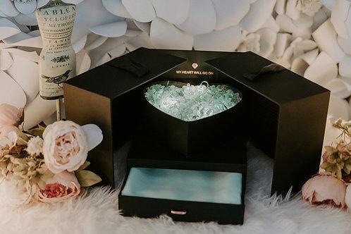 現貨 - 韓式發光永生花頸巾首飾盒 (Tiffany Green 花 + Tiffany Green 頸巾)