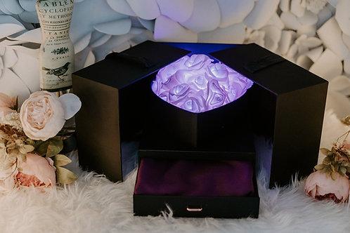 現貨 - 韓式閃亮玫瑰頸巾首飾盒 (浪漫紫光 + 紫色頸巾)