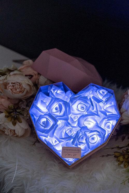 現貨 - 韓式心型閃亮玫瑰花盒(粉紅色盒,秀麗藍光)