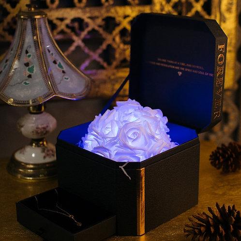現貨 - 韓式閃亮玫瑰首飾盒 + 連玫瑰金鈦鋼頸鏈 (秀麗藍)