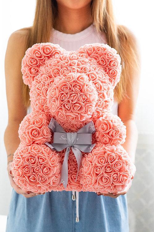 現貨 - [35cm高] 絲帶玫瑰熊仔 (粉橙色)