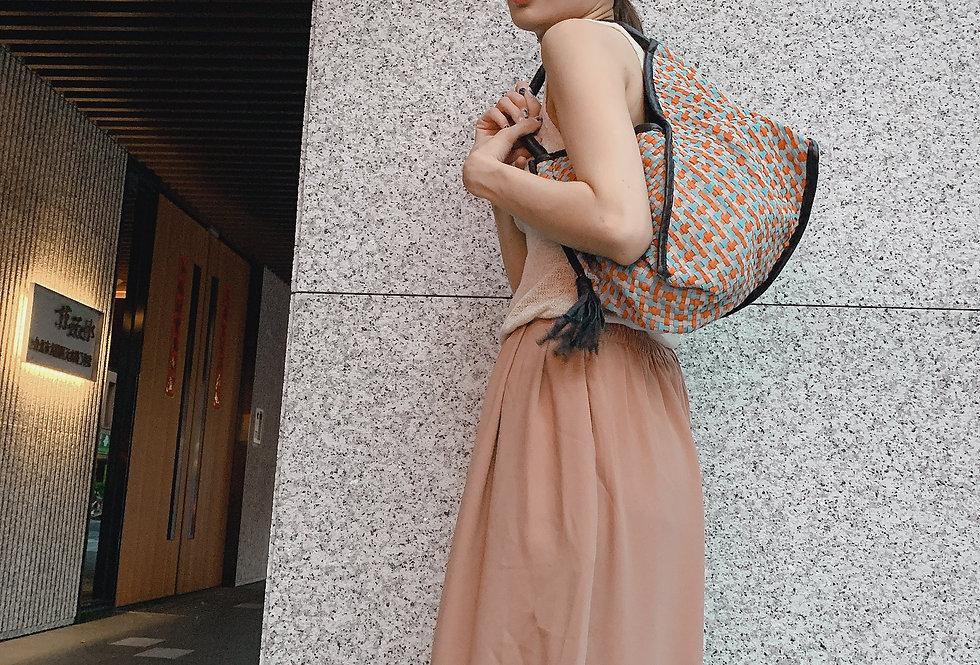 雙拉鍊設計編織羊皮包 (橙藍色)(全猄皮)