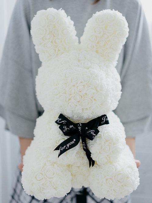 現貨 - 絲帶玫瑰兔仔 (白色)