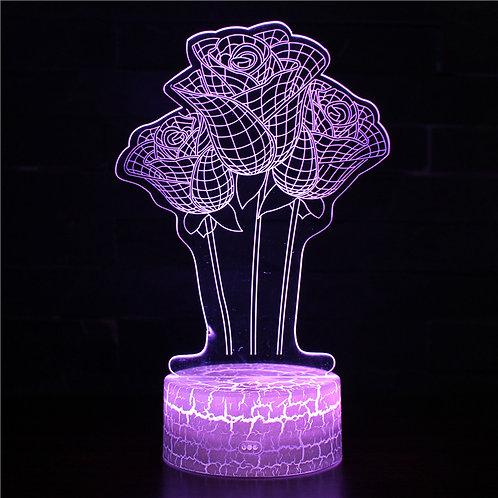 現貨 - 韓式12色搖控3D檯燈(玫瑰花)