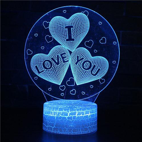 現貨 - 韓式12色搖控3D檯燈(I Love U)