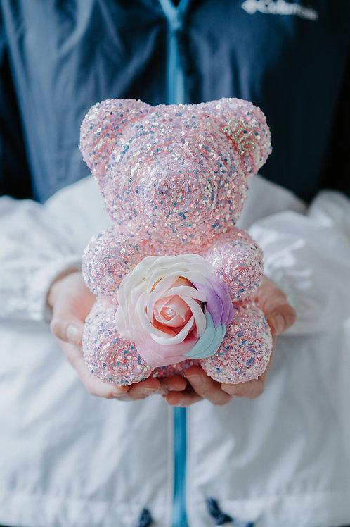 現貨 - [20cm高 - 粉紅色] 皇冠閃片帶熊仔
