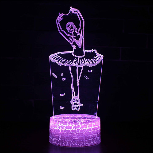 現貨 - 韓式12色搖控3D檯燈(芭蕾少女)