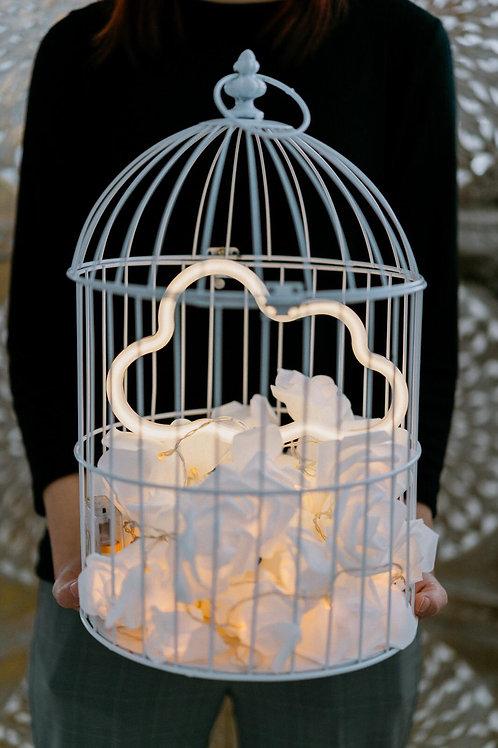 現貨 - 韓式鳥蘢·玫瑰花霓虹檯燈 (黃色雲雲)