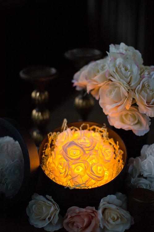 現貨 - 39朵韓式閃亮玫瑰圓形花盒 (香檳金光)