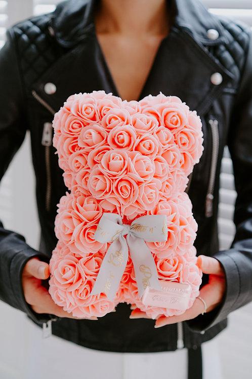現貨 - [25cm高 - 粉橙色] 絲帶玫瑰熊仔