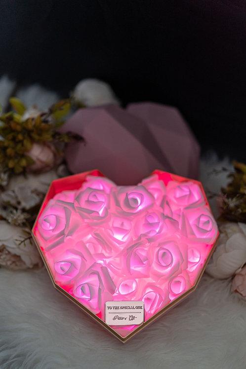 現貨 - 韓式心型閃亮玫瑰花盒(粉紅色盒,甜美粉紅)