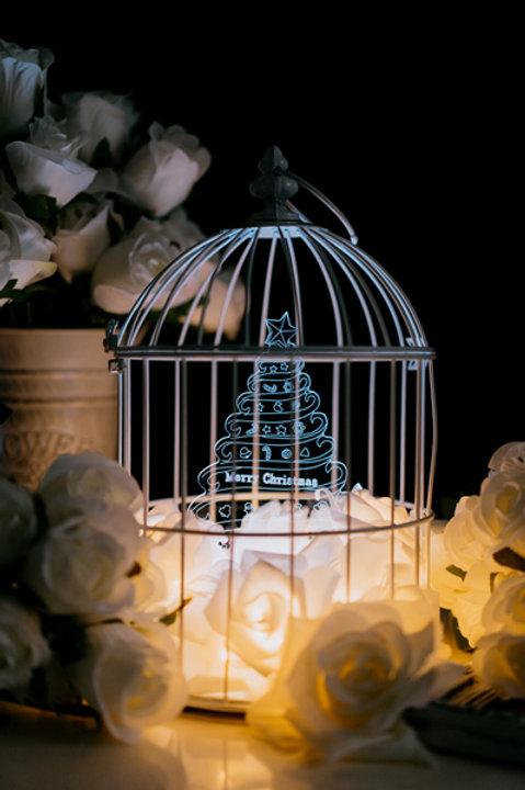 現貨 - 韓式玫瑰燈花鳥籠檯燈 (聖誕樹)