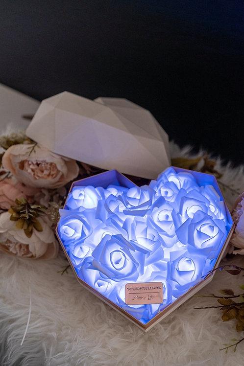 現貨 - 韓式心型閃亮玫瑰花盒(白盒,秀麗藍光)