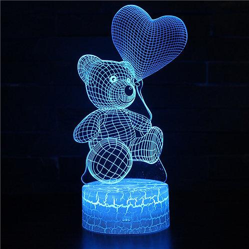 現貨 - 韓式12色搖控3D檯燈 (熊仔汽球)