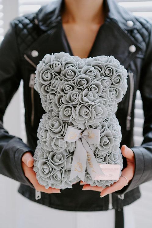 現貨 - [25cm高 - 灰色] 絲帶玫瑰熊仔