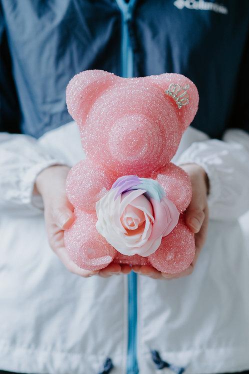 現貨 - [20cm高 - 粉紅色] 皇冠閃鑽帶熊仔