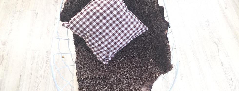 深啡色-山羊毛原張皮塊