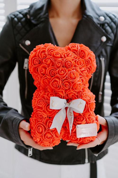 現貨 - [25cm高 - 紅色] 絲帶玫瑰熊仔