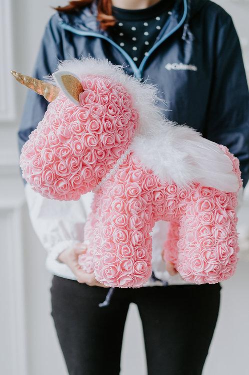 現貨 - [39cm高] 永久保存玫瑰花獨角馬 (粉紅色)