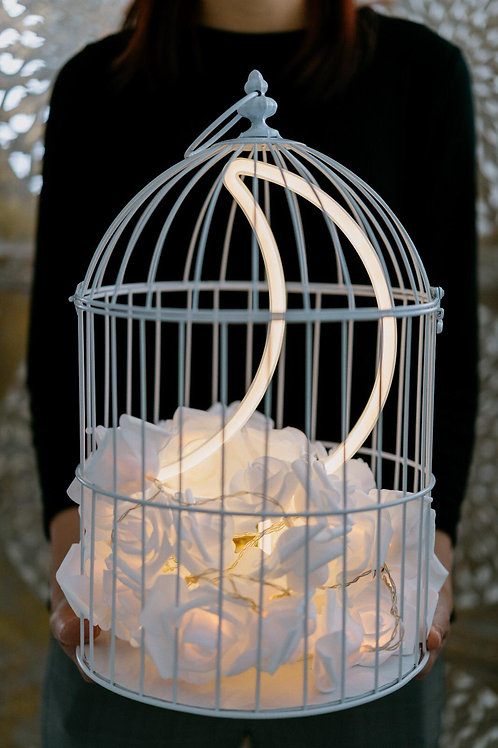 現貨 - 韓式鳥蘢·玫瑰花霓虹檯燈 (黃色月亮)