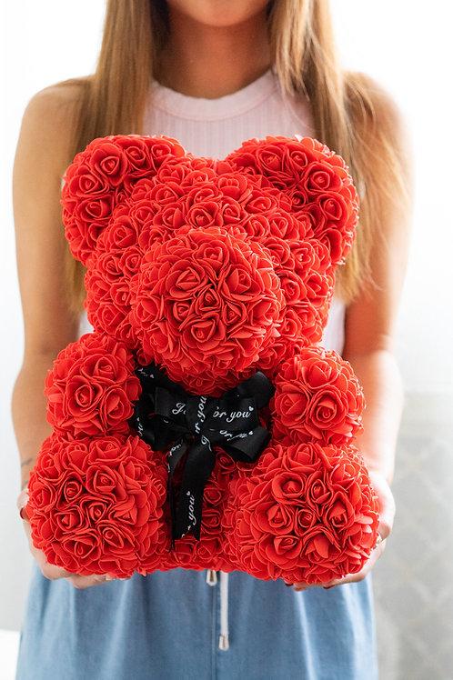 現貨 - [35cm高] 絲帶玫瑰熊仔 (紅色)
