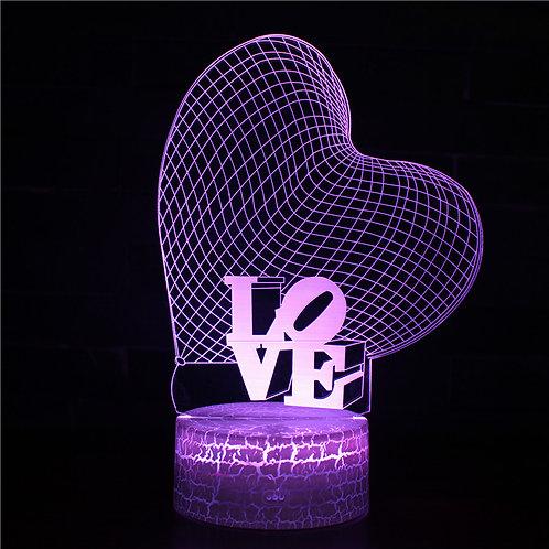 現貨 - 韓式12色搖控3D檯燈 (LOVE心)