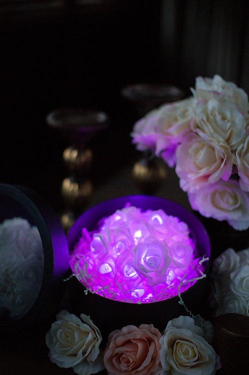 現貨 - 39朵韓式閃亮玫瑰圓形花盒 (浪漫紫光)