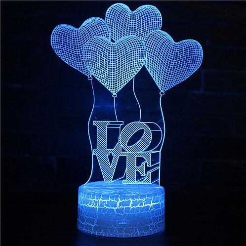 現貨 - 韓式12色搖控3D檯燈 (汽球心LOVE)