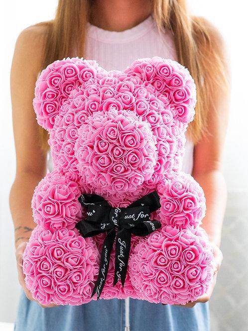 現貨 - [35cm高] 絲帶玫瑰熊仔 (粉紅色)
