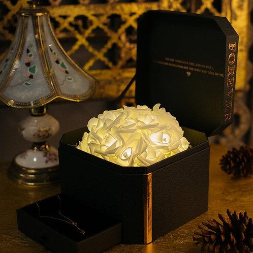 現貨 - 韓式閃亮玫瑰首飾盒 + 連玫瑰金鈦鋼頸鏈 (香檳金)