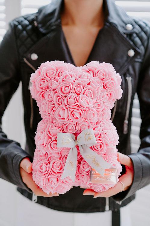 現貨 - [25cm高 - 粉紅色] 絲帶玫瑰熊仔