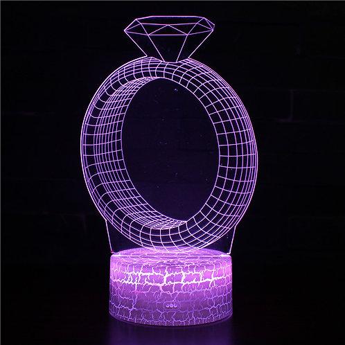 現貨 - 韓式12色搖控3D檯燈(鑽戒)