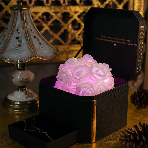 現貨 - 韓式閃亮玫瑰首飾盒 + 連玫瑰金鈦鋼頸鏈 (甜美粉紅)