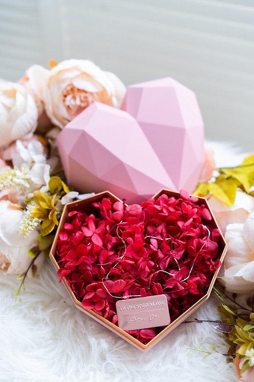 現貨 - 韓式心型永生花盒 (粉紅色盒 - 熱情紅花)