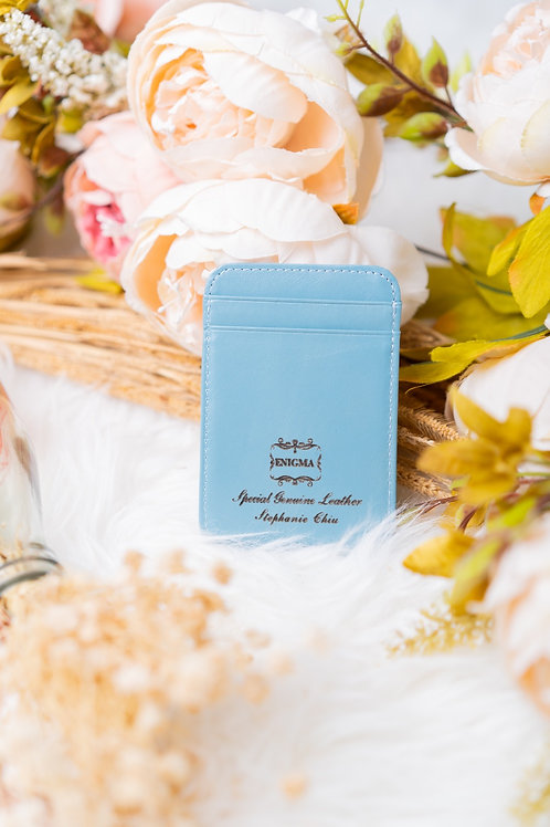 [刻名訂製]植楺牛皮5位卡片套(粉藍色)
